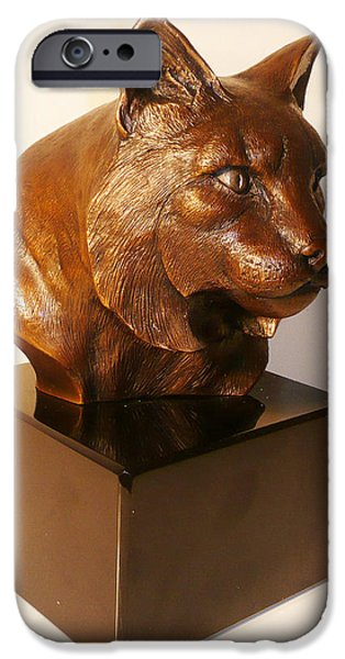 Bobcats Sculptures iPhone Cases - On the Wild Side iPhone Case by Shawn McAvoy