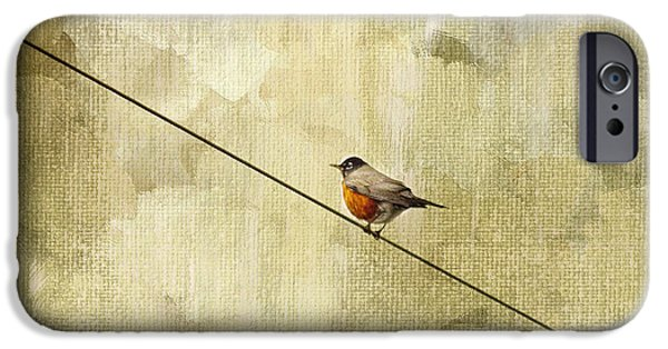 Animals Photographs iPhone Cases - On The Wire iPhone Case by Rebecca Cozart