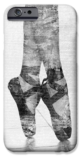 Ballet Digital Art iPhone Cases - On Tippie Toes in Black and White iPhone Case by Nikki Marie Smith