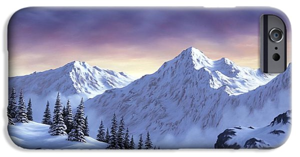 Snowscape Paintings iPhone Cases - On Top of the World iPhone Case by Rick Bainbridge