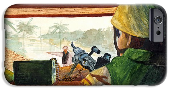 Iraq Drawings iPhone Cases - Bunker Guard iPhone Case by Annette Redman