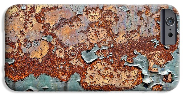 Rust Photographs iPhone Cases - Once Painted iPhone Case by Olivier Le Queinec