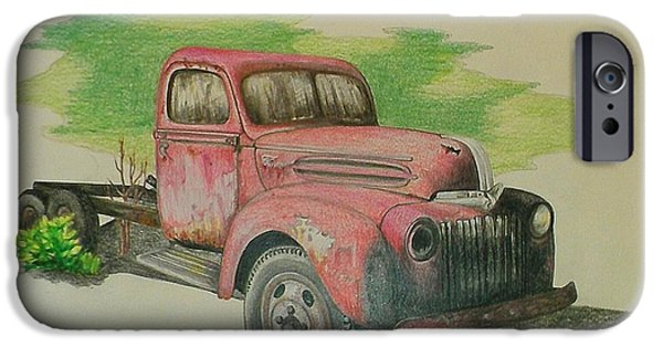 Rust Drawings iPhone Cases - Once Red iPhone Case by Lew Davis