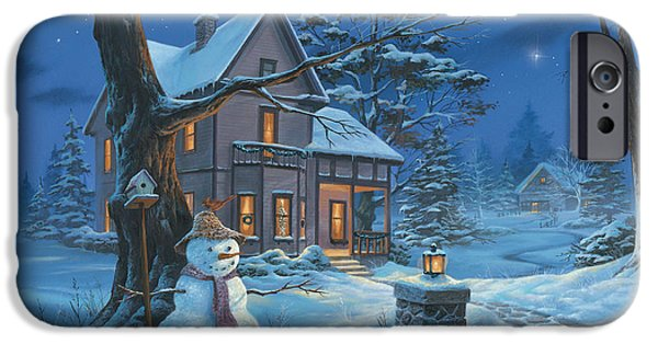 Michael Paintings iPhone Cases - Once Upon A Winters Night iPhone Case by Michael Humphries