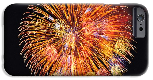 Cut-outs iPhone Cases - One Big Circle Of Fireworks With Black iPhone Case by Panoramic Images