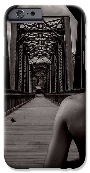 One Boy One Pigeon One Bridge iPhone Case by Bob Orsillo