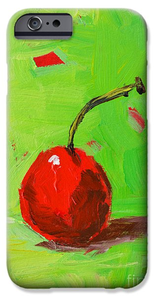 Cherry Art iPhone Cases - One Cherry iPhone Case by Patricia Awapara