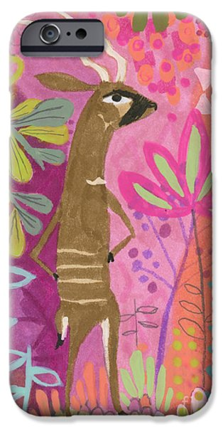 African Animal Drawings iPhone Cases - One Cool Bongo iPhone Case by Kate Cosgrove