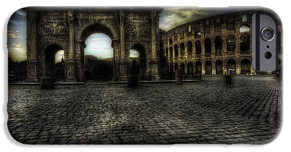 Ruins iPhone Cases - One Evening in Rome iPhone Case by Erik Brede