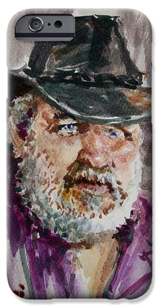 Beard iPhone Cases - One Eyed Cowboy  iPhone Case by Ylli Haruni