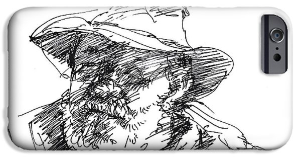 Sketch iPhone Cases - One Eyed Man iPhone Case by Ylli Haruni