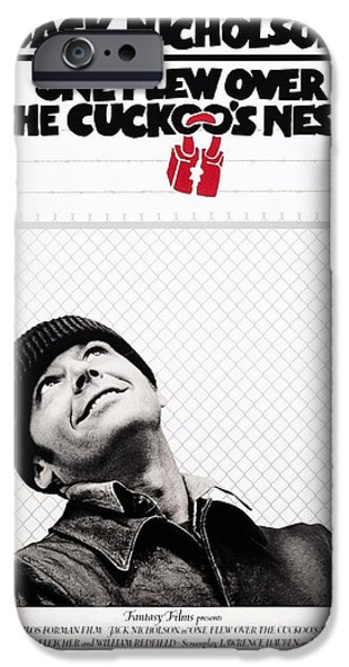 Cuckoo iPhone Cases - One Flew Over the Cuckoos Nest iPhone Case by Movie Poster Prints