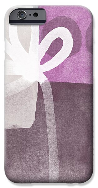 One Flower- contemporary painting iPhone Case by Linda Woods