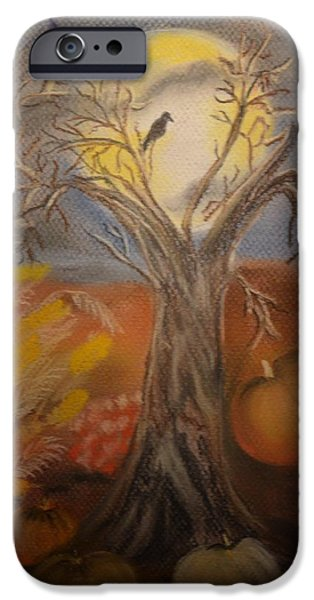 Autumn Scenes Pastels iPhone Cases - One Hallowed Eve iPhone Case by Maria Urso
