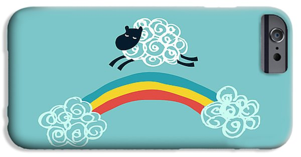 Cute Illustration iPhone Cases - One Happy Cloud iPhone Case by Budi Kwan