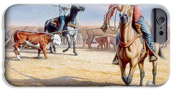 Cowboy iPhone Cases - One Heel iPhone Case by Paul Krapf