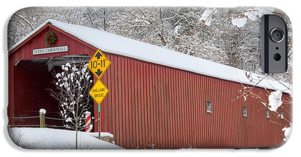 Covered Bridge iPhone Cases - One Lane Bridge Square iPhone Case by Bill  Wakeley