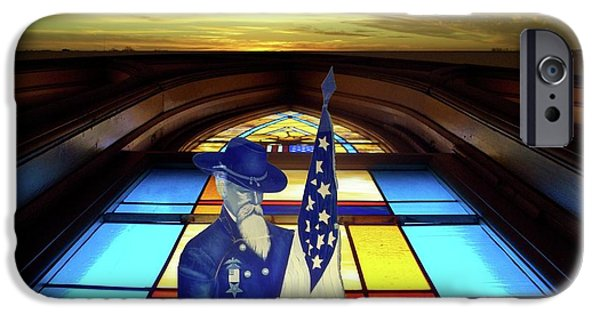 Building Glass iPhone Cases - One Last Battle Union Soldier Stained Glass Window Digital Art iPhone Case by Thomas Woolworth