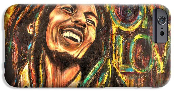 Conscious Paintings iPhone Cases - One Love iPhone Case by Robyn Chance
