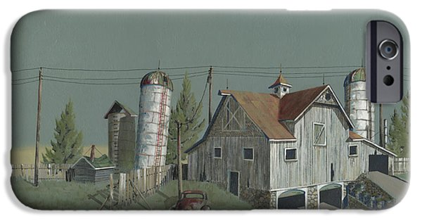 Barns Paintings iPhone Cases - One Mans Castle iPhone Case by John Wyckoff