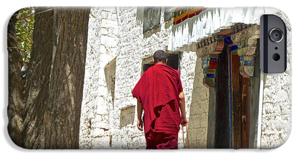 Tibetan Buddhism Digital Art iPhone Cases - One of 800 Monks at Sera Monastery in Lhasa-Tibet  iPhone Case by Ruth Hager