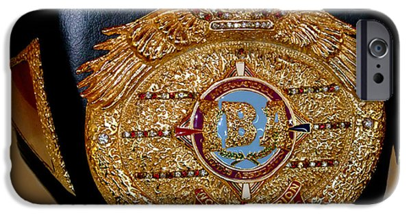 Americans Jewelry iPhone Cases - One of Ana Julatons World Championship Boxing Belts iPhone Case by Jim Fitzpatrick