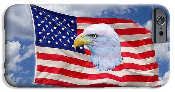 Old Glory Mixed Media iPhone Cases - One Proud Bird iPhone Case by Dennis Dugan