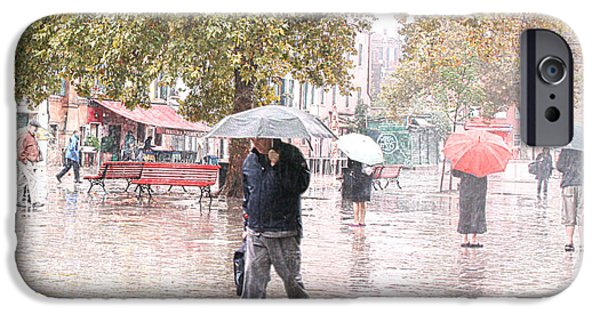 Rainy Day iPhone Cases - One Red Umbrella iPhone Case by Mariarosa Rockefeller