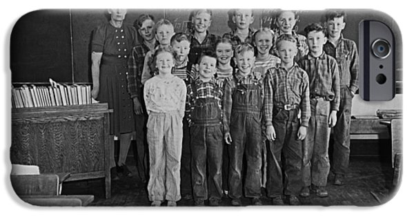 Rural Schools iPhone Cases - One-room Country School - Group of Students with Teacher - North iPhone Case by Donald  Erickson