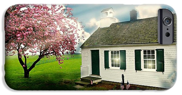 Old School House iPhone Cases - The Little Old Schoolhouse iPhone Case by Diana Angstadt