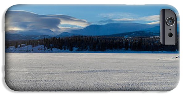 Wintertime iPhone Cases - One Skier on frozen Lake Laberge iPhone Case by Stephan Pietzko