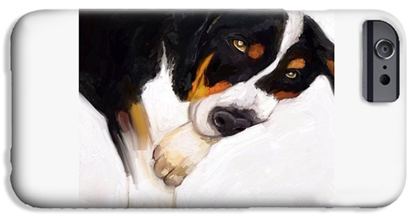 Puppies Digital Art iPhone Cases - One sleepy Swissy iPhone Case by Karen Harding