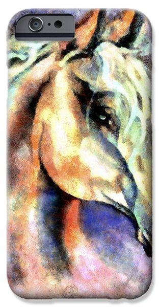 Native American Spirit Portrait iPhone Cases - One Spirit iPhone Case by Janine Riley