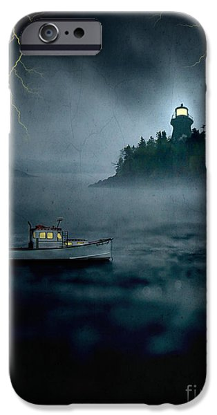 Maine iPhone Cases - One Stormy Night in Maine iPhone Case by Edward Fielding