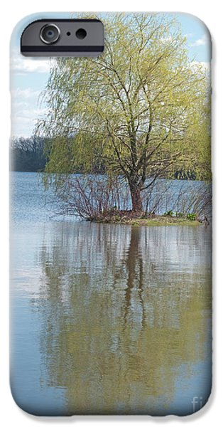 Willow Lake iPhone Cases - One Tree Island iPhone Case by Ann Horn