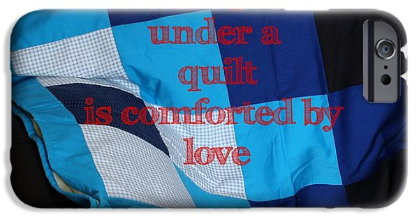 Black Tapestries - Textiles iPhone Cases - One Who Sleeps Under a Quilt is Comforted by Love iPhone Case by Barbara Griffin