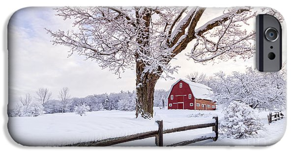 Winter Storm iPhone Cases - One Winter Morning on the Farm iPhone Case by Edward Fielding