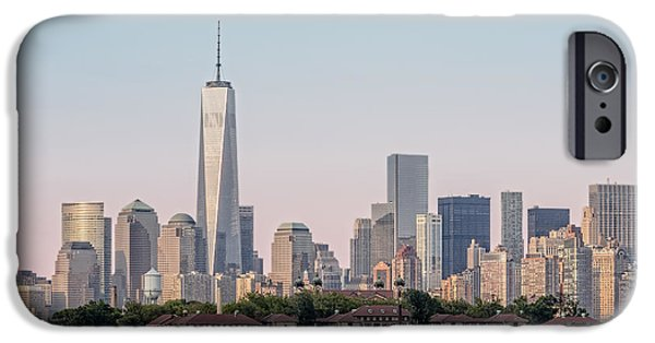 Freedom iPhone Cases - One World Trade Center And Ellis Island 2 iPhone Case by Susan Candelario