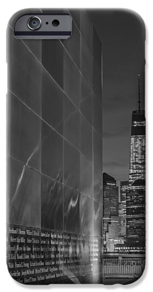 Freedom iPhone Cases - One World Trade Center At Dawn BW iPhone Case by Susan Candelario