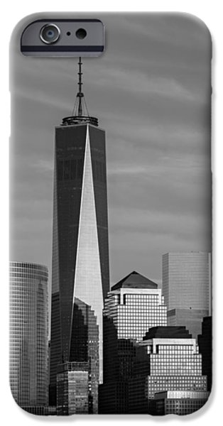 Hudson River iPhone Cases - One World Trade Center BW iPhone Case by Susan Candelario