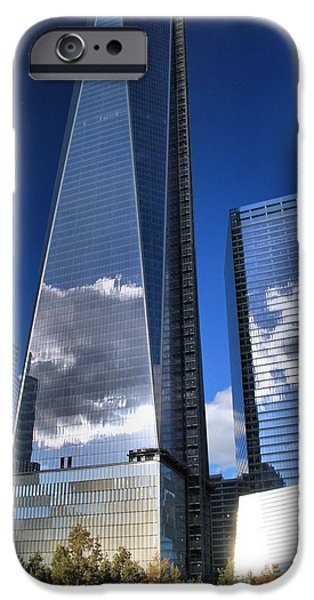 Twin Towers Nyc iPhone Cases - One World Trade Center Reflections iPhone Case by Dan Sproul