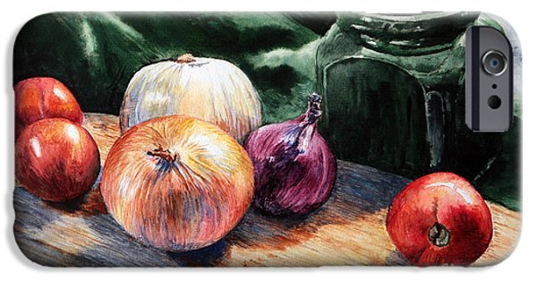 Water Jars Paintings iPhone Cases - Onions and Tomatoes iPhone Case by Joey Agbayani
