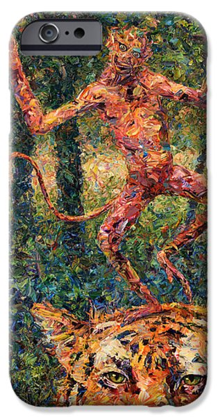 Impasto iPhone Cases - Only a Crazy Monkey dances on a Tigers Head iPhone Case by James W Johnson