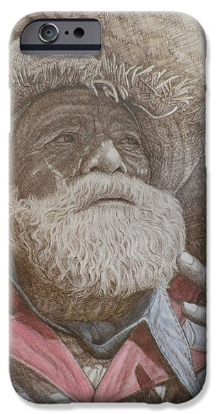 Sepia Ink Drawings iPhone Cases - Only a Hobo iPhone Case by Robert Pace Kidd