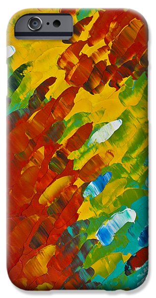 Red Abstract iPhone Cases - Only Till Eternity 2nd Panel iPhone Case by Sharon Cummings