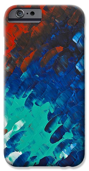 Red Abstract iPhone Cases - Only Till Eternity 3rd Panel iPhone Case by Sharon Cummings