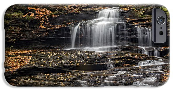 Fall iPhone Cases - Onondaga Falls  iPhone Case by Susan Candelario