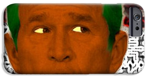George Bush iPhone Cases - Oompaloompa Bush iPhone Case by Andrew Kaupe