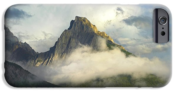 Mountains iPhone Cases - Opal Range In Fog Kananaskis Country iPhone Case by Tim Fitzharris