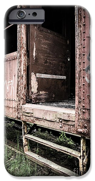Homeless iPhone Cases - Open door of an abandoned train car iPhone Case by Edward Fielding